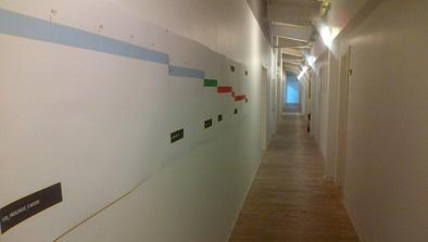 the minimal central corridor of EUCROMA- hidden on an industrial estate in Copenhagen